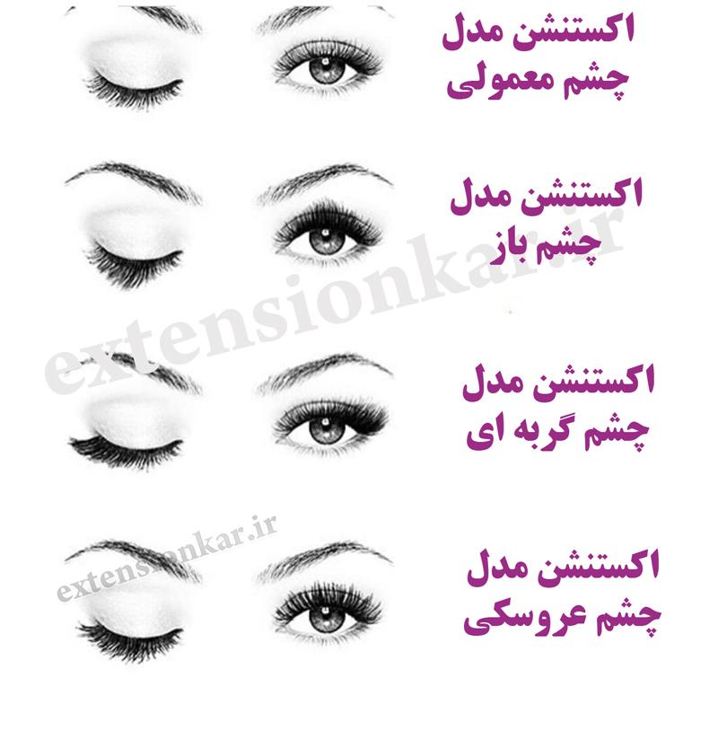 انواع اکستنشن مژه چشم